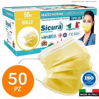 Sicura Protection 50 Mascherine Chirurgiche Monouso Filtranti Tipo II R in TNT Gialle