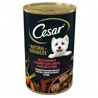 Cesar Natural Goodness Cibo per Cani con Manzo Carote Fagiolini e Erbe - Lattina da 400g
