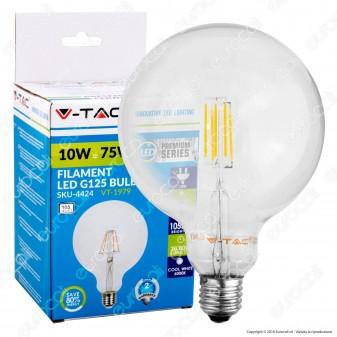 V-TAC VT-1979 LAMPADINA LED E27 10W Globo G125 FILAMENTO - SKU 4433 / 4434 / 4435