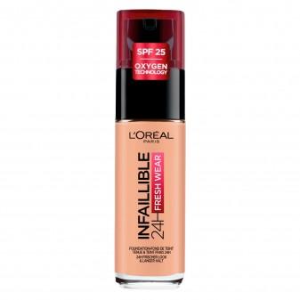 L'Oréal Paris Infaillible 24H Fresh Wear Fondotinta Liquido Coprente Waterproof SPF25 Colore 245 Miel Doré