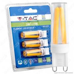 V-Tac VT-1943 Lampadina LED G9 3W Bulb Filamento - Blister 3 pz - SKU 4436