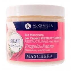 Alkemilla Maschera Capelli Ristrutturante Panna e Fragola - Vasetto da 200ml