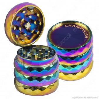 Grinder Champ High Tritatabacco Mini in Metallo 4 Parti Diamond Rainbow