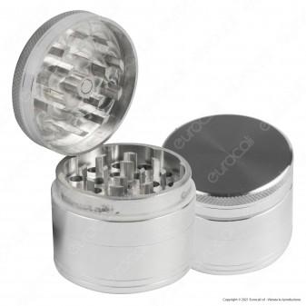 Grinder Tritatabacco Mini in Alluminio 4 Parti Grigio Chiaro