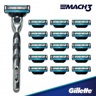 Gillette Mach3 Rasoio Uomo a 3 Lame + 15 Lamette di Ricambio