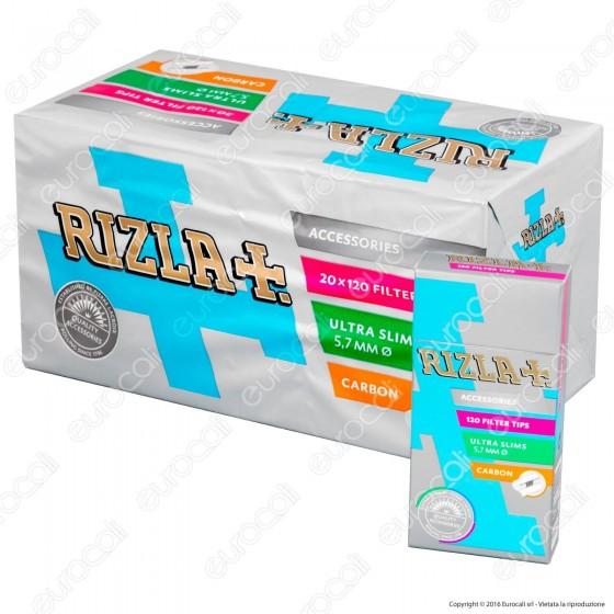 Rizla Ultra Slim Carbon 5,7mm Carboni Attivi - Box 20 Scatoline da 120 Filtri