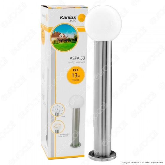 Kanlux ASPA 50 Portalampada da Giardino con Fissaggio a Terra per Lampadine E27