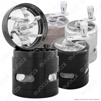 Grinder Tritatabacco 4 Parti in Metallo - con Manovella e finestra ispezione