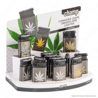 Turboflame Antivento Champ in Metallo Fantasia Cannabis Leave - Box da 12 accendini