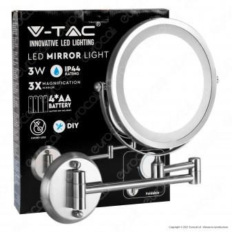 V-Tac VT-7571 Specchio Bifacciale con Luce LED 3W Ingrandimento 1x - 3x Orientabile Colore Satinato - SKU 6628