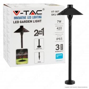 V-Tac VT-907 Lampada da Giardino 7W Fissaggio a Pavimento o Interramento IP65 Colore Nero - SKU 20316 / 20317 / 20318