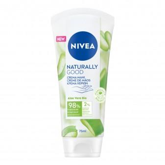 Nivea Naturally Good Crema Mani con Aloe Vera Bio e Ingredienti Naturali - Flacone da 75ml