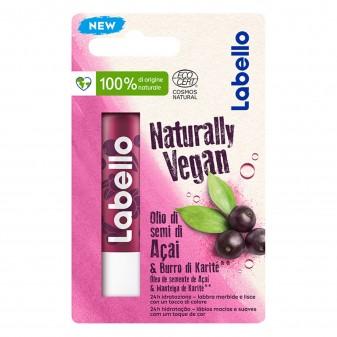 Labello Naturally Vegan Balsamo Idratante Labbra Burrocacao con Olio di Semi di Acai e Burro di Karitè - Confezione da 1pz