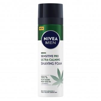 Nivea Men Sensitive Pro Ultra Calming Schiuma da Barba Vegan con Vitamina E e Olio di Canapa - Flacone da 200ml