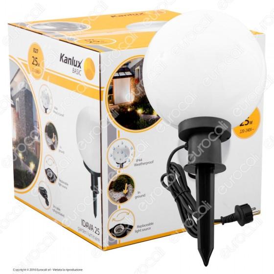Kanlux IDAVA 25 Portalampada da Giardino con Fissaggio a Terra per Lampadine E27