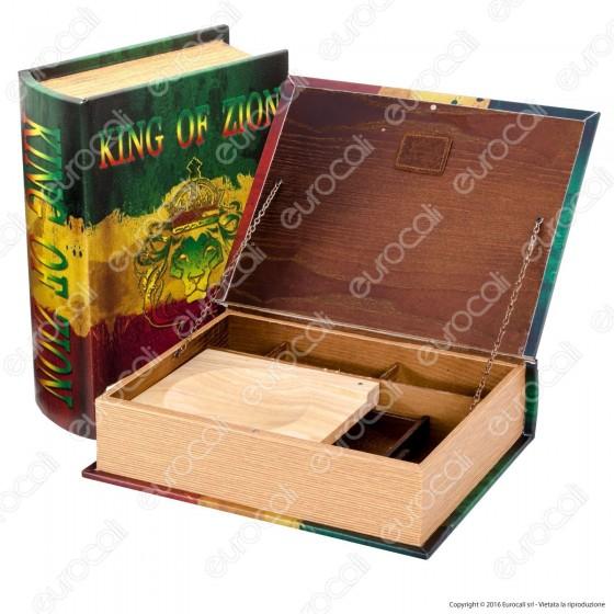 Spliff Box Stazione di Rollaggio in Legno - Large Libro King of Zion