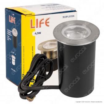 Life Punto Luce IK06 LED 4,5W Segnapasso da Interramento in Acciaio 316 e Alluminio IP67 - mod. 39.9PL0353N