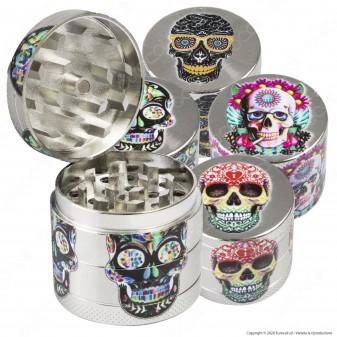 Grinder Champ High Tritatabacco Mini in Metallo 4 Parti Silver Skull