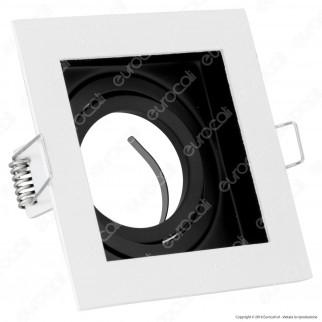 V-Tac VT-781SQ Portafaretto Orientabile Quadrato da Incasso per Lampadine GU10 e GU5.3 - SKU 3597