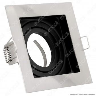 V-Tac VT-781SQ Portafaretto Orientabile Quadrato da Incasso per Lampadine GU10 e GU5.3 - SKU 3598