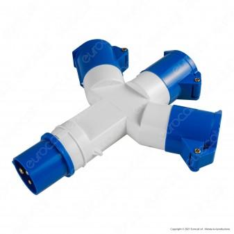 Ecova Multipresa Adattatore Industriale Spina e 3 Prese 16A 6h 2P+T 220-240V IP44 - mod. 20556