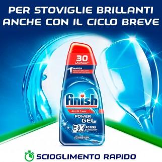 Finish Power Gel All in 1 Max 3x Sgrassante Fresh per Lavastoviglie - 3 Flaconi da 600ml