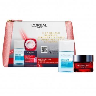L'Oréal Paris Pochette con Revitalift Laser X3 Trattamento Viso Anti-Età Giorno e Struccante Delicato Occhi