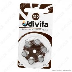 Udivita Misura 312 - Blister 6 Batterie per Protesi Acustiche