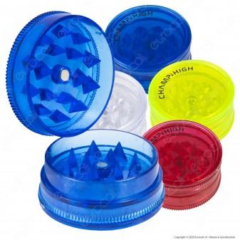 Champ Mini Grinder Tritatabacco 3 Parti in Plastica Trasparente