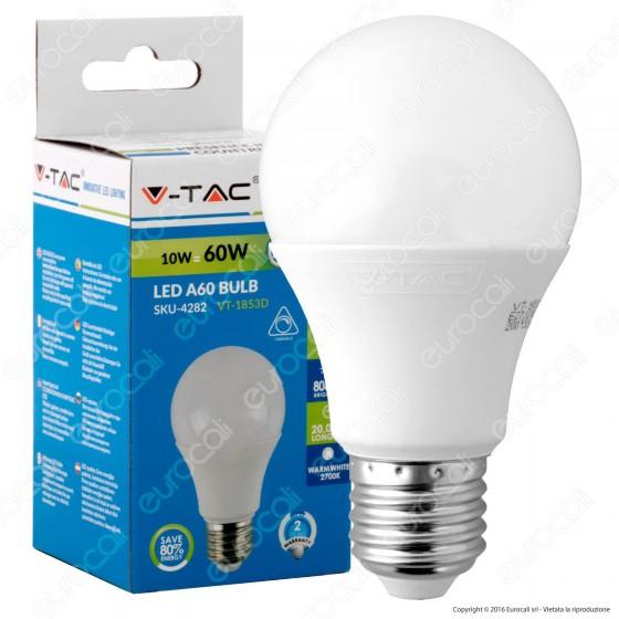 V-Tac VT-1853D Lampadina LED E27 10W Bulb A60 Dimmerabile - SKU 4282