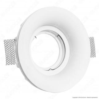 Portafaretto Rotondo da Incasso in Gesso per Lampadine AR111 - ART58