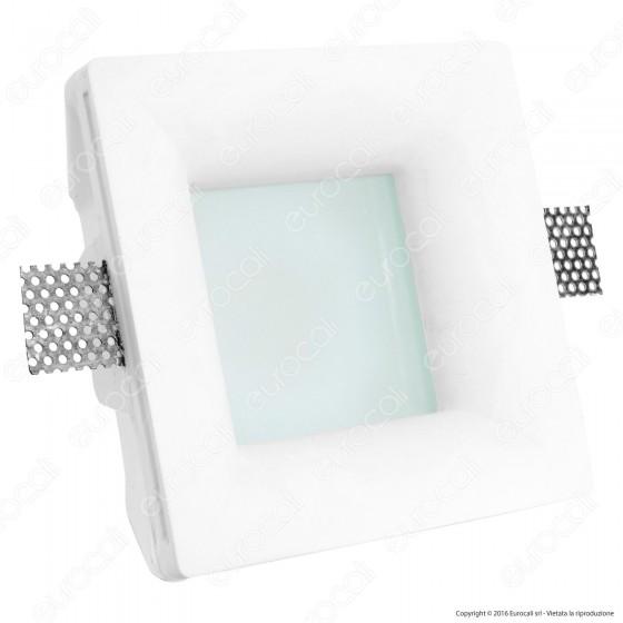 Portafaretto Quadrato da Incasso in Gesso e Vetro per Lampadine GU10 e GU5.3 - ART62