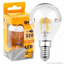 Bot Lighting Shot Lampadina LED E14 4W MiniGlobo P45 Filamento Calotta Cromata