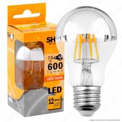 Bot Lighting Shot Lampadina LED E27 7,5W Bulb A60 Filamento Calotta Cromata - mod. WLD1008X2CA