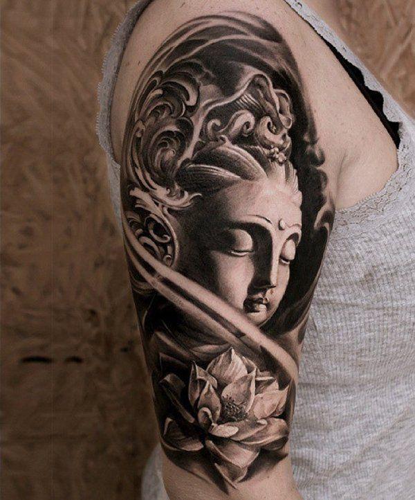tatuaggio religioso di buddha