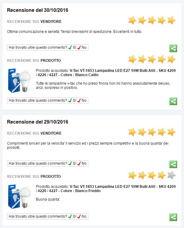 recensioni clienti eurocali riguardo a v-tac